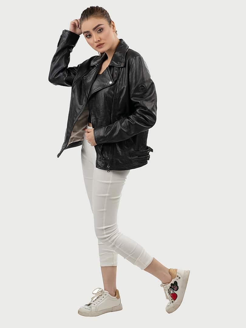 Blueorn Alva biker leather jacket black pose 2