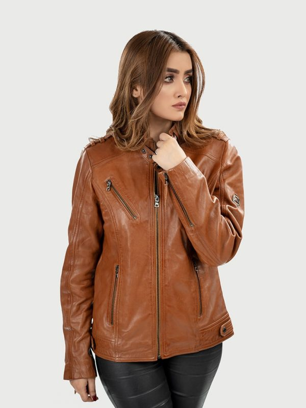 Anneli women leather jacket front