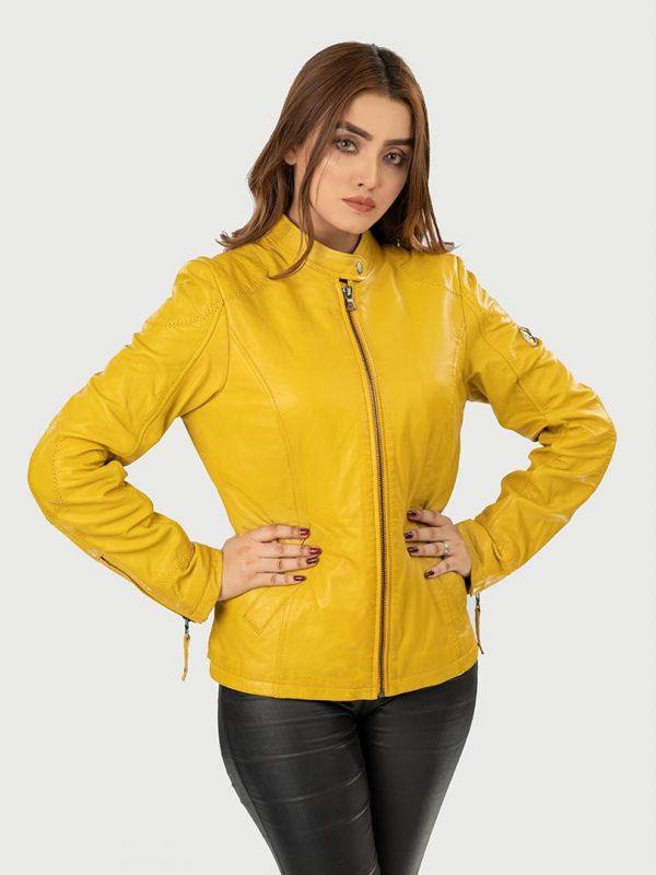 Clara Classic Women Leather jacket font