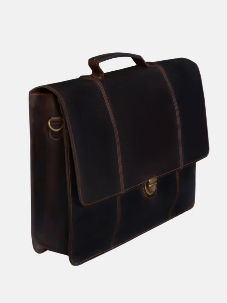 Eloi business bag - Leather crossbody bag side