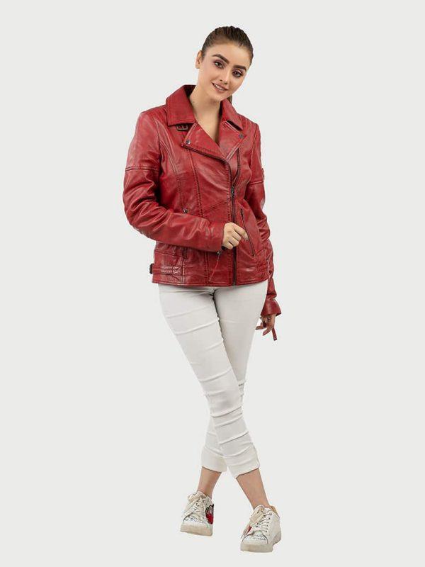 Blueorn Hedda red biker leather jacket front 2