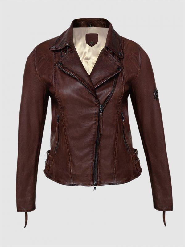 Blueorn Alva Biker leather jacket brown front